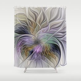 Abstract Flower, Colorful Floral Fractal Art Shower Curtain