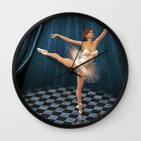 ballerina Wall Clocks featuring ballerina by Ancello