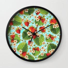 Botanical Strawberries Wall Clock