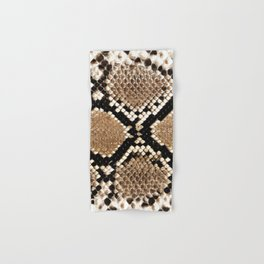 Pastel brown black white snakeskin animal pattern Hand & Bath Towel