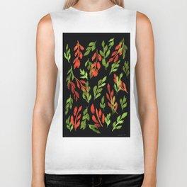 180726 Abstract Leaves Botanical Dark Mode 1|Botanical Illustrations Biker Tank