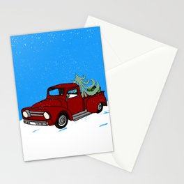 Old Red Christmas Truck In Snow Stationery Cards