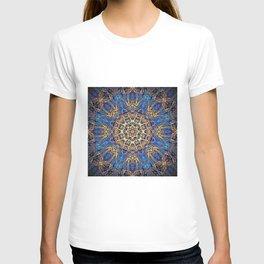 Bohemian Bright Blue and Gold Mandala T-shirt