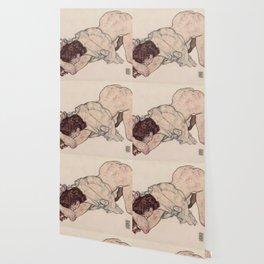KNEELING GIRL, RESTING ON BOTH ELBOWS - EGON SCHIELE Wallpaper