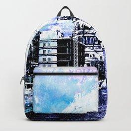 Berlin urban blue mixed media art Backpack
