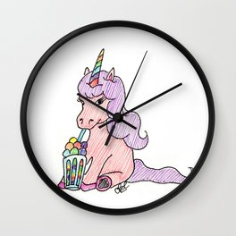 Unicorn with ice-cream Wall Clock