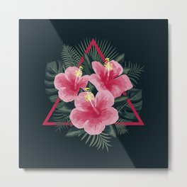 Tropical Flowers. Pink Hibiscus Metal Print