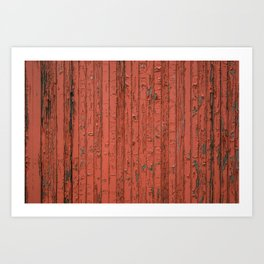 Peeling Red Boxcar Paint Wooden Slats Train Texture Art Print