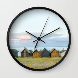 Fishing huts hutte 7 Wall Clock