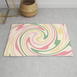 70s retro swirl romantic pastel abstract Rug