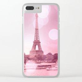 Paris Eiffel Tower Pink Bokeh Clear iPhone Case