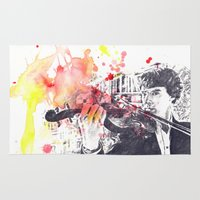 benedict Area & Throw Rugs featuring Benedict Cumberbatch As Sherlock Holmes by idillard