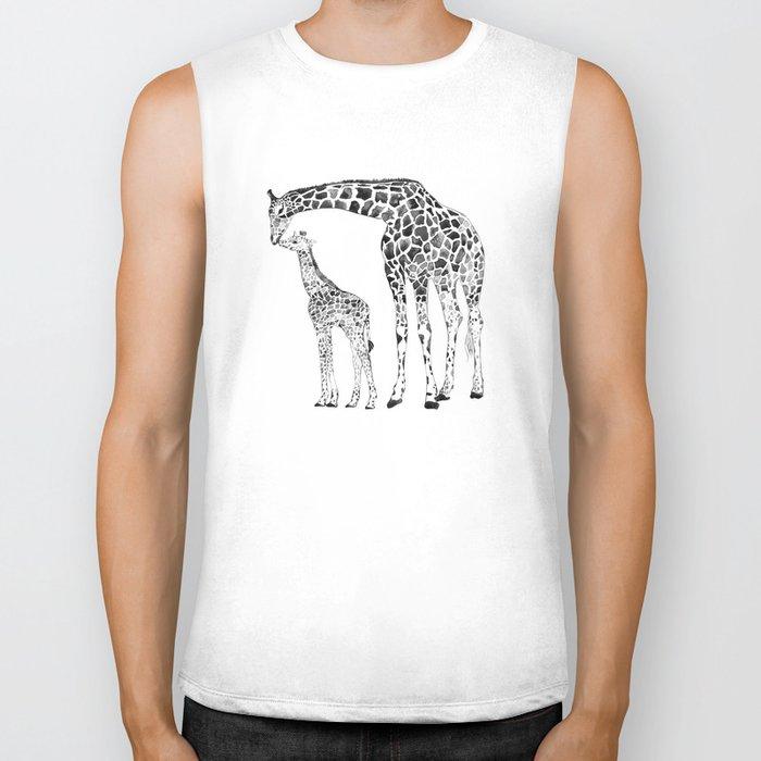 Giraffes, black and white Biker Tank