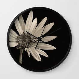 Black And White Sunflower Wall Clock