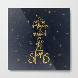 Darkness-Stars - sparkling night gold glitter effect typography on #Society6 Metal Print