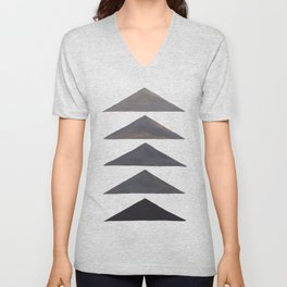 Gray Geometric Triangle Pattern With Black Accent Unisex V-Neck