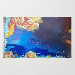 Mad Lucy's Golden Roses. Yellow Roses and Galaxy Blue. Rug