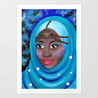 EID - Muslim Girl with Hijab - Acrylic Painting Art Print