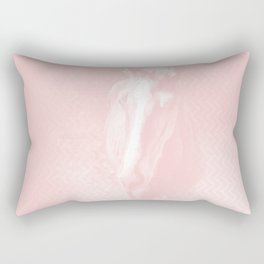 Horse emerging from the baby pink mist Rectangular Pillow