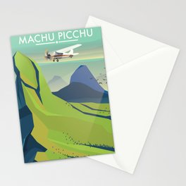 machu picchu travel poster Stationery Cards