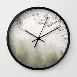 Serenity. Foggy morning into the woods Wall Clock