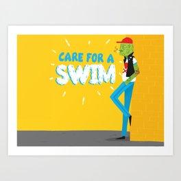 care for a swim? Art Print
