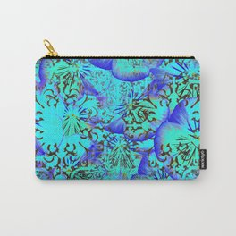 373 13 Aqua Pansies Carry-All Pouch