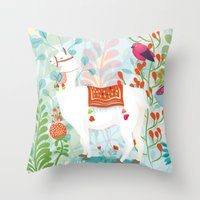 llama Throw Pillows featuring Llama by The Wildest Little Things