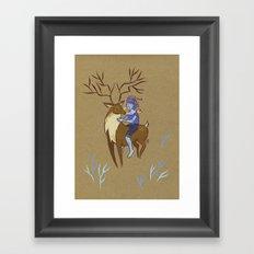 Deer and Girl Framed Art Print