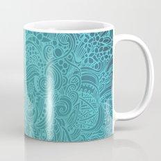 Detailed zentangle square, blue colorway Mug
