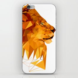 Geometric Lion Wild animals Big cat Low poly art Brown and Yellow iPhone Skin