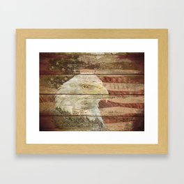 Rustic Bald Eagle Bird American Flag Patriotic Country Art A167 Framed Art Print
