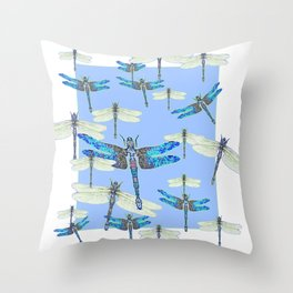 BLUE & GOSSAMER WHITE  DRAGONFLY SEASON ART Throw Pillow