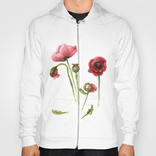 Red Poppies - Botanical Art - watercolor Hoody