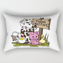 Friends Not Food Animal Rights Pig Cow present Rectangular Pillow