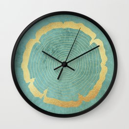 Gold Foil Tree Ring Wall Clock