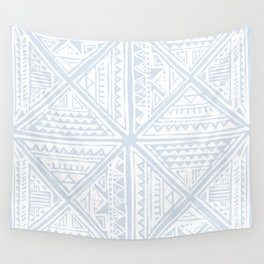 Simply Tribal Tile in Sky Blue on Lunar Gray Wall Tapestry
