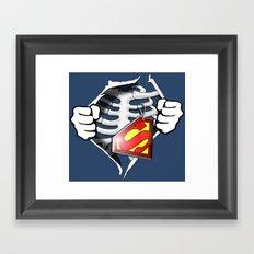 Skeleton Rib Cage With Superman Tag Framed Art Print