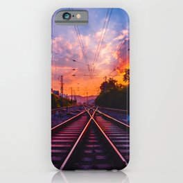 Antiquity railway at the sky of dawn iPhone Case