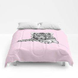 Amur tiger cub - pink Comforters