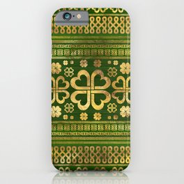 Shamrock Four-leaf Clover Green Wood and Gold iPhone Case