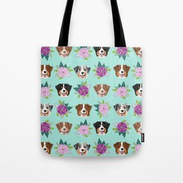 Australian Shepherd dog breed dog faces cute floral dog pattern Tote Bag