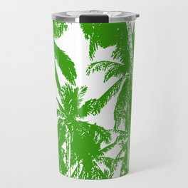 Palm Trees Design in Green and White Travel Mug