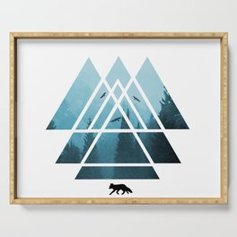 The Courage To Stand Alone - Turquoise Sacred Geometry Triangles Serving Tray