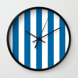 Sapphire blue - solid color - white vertical lines pattern Wall Clock