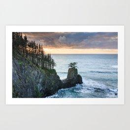 The Rigid Coastline in the Samuel H. Boardman State Scenic Corridor at Sunset Art Print