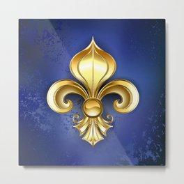 Gold Fleur De Lis on a Blue Background Metal Print