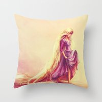 snow Throw Pillows featuring Gilded by Alice X. Zhang