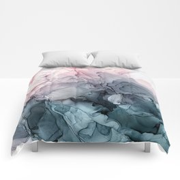 Blush and Paynes Gray Flowing Abstract Reflect Comforters