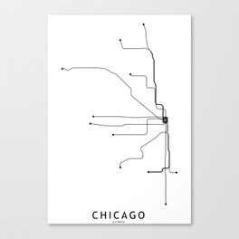 Chicago Subway White Map Canvas Print